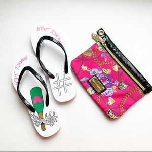 Betsy Johnson Bride Flip Flops & Makeup Bag Set